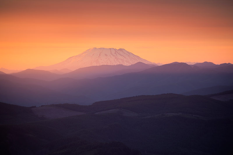 Mount St. Helens at Sunset from Larch Mountain, Mount Hood National Forest, Oregon